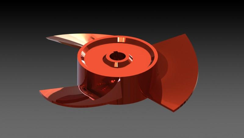 Axial Flow Red Propeller